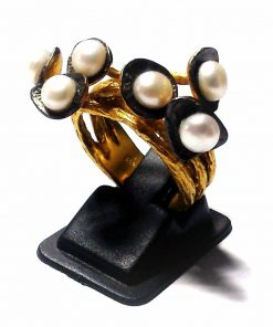 Jewelfort.com Dual Tone Pearl Ring in sterling Silver 925 Jewelfort