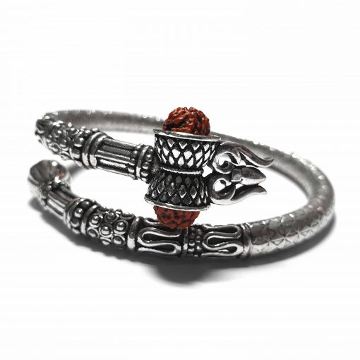 Sterling Silver Brown Rudraksh Lord Shiva Trishul Bracelet Worship Bracelet Shiv Kada Shiva Pack Of 1 Bracelet Ideal for Men - Jewelfort