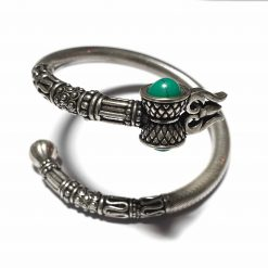 Sterling Silver Green Turquoise Lord Shiva Trishul Bracelet Worship Bracelet Shiv Kada Shiva Pack Of 1 Bracelet Ideal for Men - Jewelfort