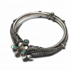 Sterling Silver Green Turquoise Traditional Rajasthani Peacock Carving Bracelet Wildlife Bracelet Traditional Kada Peacock Pack Of 1 Bracelet Ideal for Men - Jewelfort
