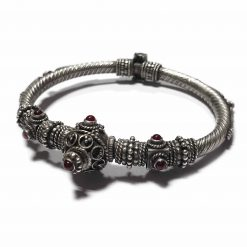 Sterling Silver Red Onyx Traditional Rajasthani Carving Bracelet Indian Bracelet Traditional Kada Rajasthan Pack Of 1 Bracelet Ideal for Men - Jewelfort