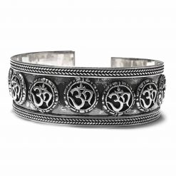 Sterling Silver Silver  OM ॐ Hindu Band Bracelet Worship Bracelet Om Kada Hindu Pack Of 1 Bracelet Ideal for Men - Jewelfort
