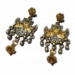 Sterling Silver Silver::Gold  Peacock Earrings Wildlife Earrings Silver Women India Pack Of 1 Pair Earrings Ideal for Women - Jewelfort