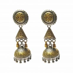 Sterling Silver Silver::Gold  Flower Medival Jhumka Earrings Flower Earrings Silver Women Jewellery Pack Of 1 Pair Earrings Ideal for Women - Jewelfort