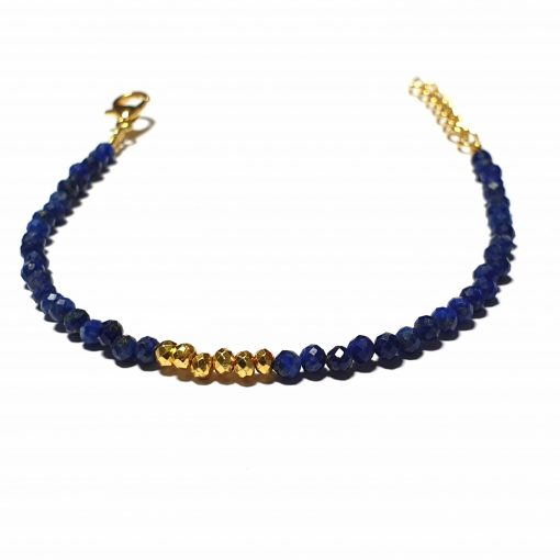 Sterling Silver Blue Lapis Beaded Bracelet Simplistic Bracelet Beaded Simple Light Pack Of 1 Bracelet Ideal for Women - Jewelfort