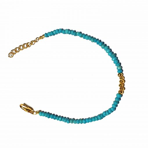 Sterling Silver Blue Turquoise Beaded Bracelet Simplistic Bracelet Beaded Simple Light Pack Of 1 Bracelet Ideal for Women - Jewelfort