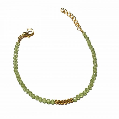 Sterling Silver Green Peridot Beaded Bracelet Simplistic Bracelet Beaded Simple Light Pack Of 1 Bracelet Ideal for Women - Jewelfort