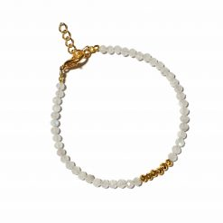 Sterling Silver White Rainbow Moonstone Beaded Bracelet Simplistic Bracelet Beaded Simple Light Pack Of 1 Bracelet Ideal for Women - Jewelfort