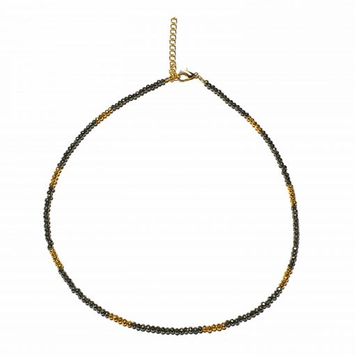 Sterling Silver Black Pyrite Beaded Necklace Simplistic Necklace Beaded Simple Light Pack Of 1 Necklace Ideal for Women - Jewelfort