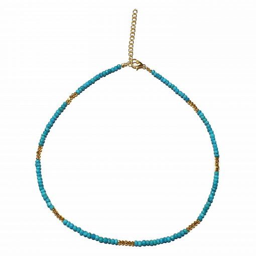 Sterling Silver Blue Turquoise Beaded Necklace Simplistic Necklace Beaded Simple Light Pack Of 1 Necklace Ideal for Women - Jewelfort