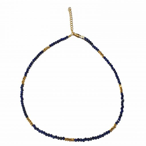 Sterling Silver Blue Lapis Beaded Necklace Simplistic Necklace Beaded Simple Light Pack Of 1 Necklace Ideal for Women - Jewelfort