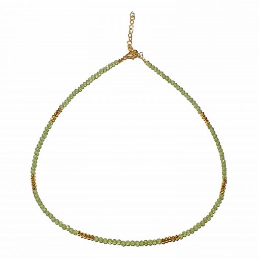 Sterling Silver Green Peridot Beaded Necklace Simplistic Necklace Beaded Simple Light Pack Of 1 Necklace Ideal for Women - Jewelfort