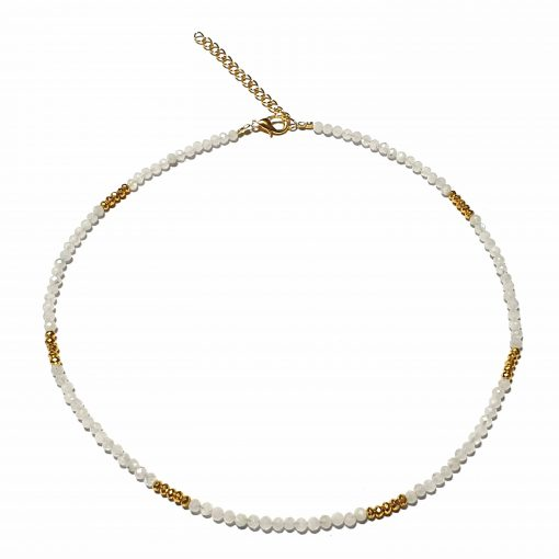 Sterling Silver White Rainbow Moonstone Beaded Necklace Simplistic Necklace Beaded Simple Light Pack Of 1 Necklace Ideal for Women - Jewelfort