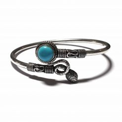 Sterling Silver Blue Turquoise Snake Ketu Bracelet Simplistic Bracelet Silver Women 925 Pack Of 1 Bracelet Ideal for Women - Jewelfort