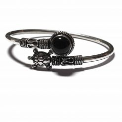 Sterling Silver Black Onyx Turtle Bracelet Simplistic Bracelet Silver Women 925 Pack Of 1 Bracelet Ideal for Women - Jewelfort