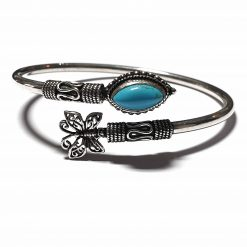 Sterling Silver Blue Turquoise Butterfly Bracelet Simplistic Bracelet Silver Women 925 Pack Of 1 Bracelet Ideal for Women - Jewelfort