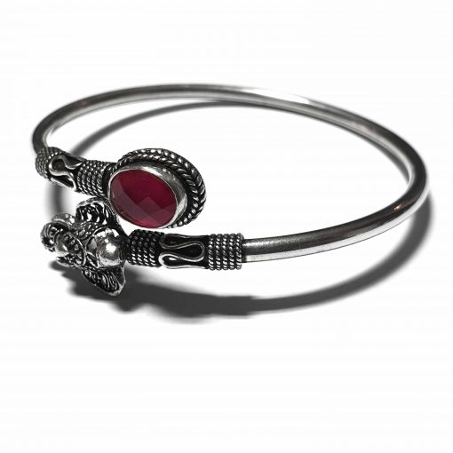 Sterling Silver Red Ruby Elephant Traditional Bracelet Simplistic Bracelet Silver Women 925 Pack Of 1 Bracelet Ideal for Women - Jewelfort