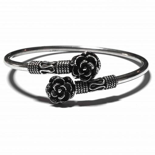Sterling Silver Silver  Double Flower Bracelet Simplistic Bracelet Silver Women 925 Pack Of 1 Bracelet Ideal for Women - Jewelfort