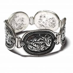 Sterling Silver Silver  Abstract Oval Bracelet Simplistic Bracelet Silver Women 925 Pack Of 1 Bracelet Ideal for Women - Jewelfort