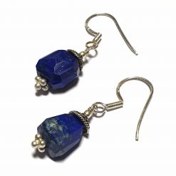 Sterling Silver Blue Lapis Lazuli Beaded Indian Earrings Simplistic Earrings Silver Women 925 Pack Of 1 Pair Earring Ideal for Women - Jewelfort