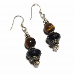 Sterling Silver Brown Tiger's Eye Beaded Indian Earrings Simplistic Earrings Silver Women 925 Pack Of 1 Pair Earring Ideal for Women - Jewelfort