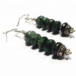 Sterling Silver Green Emerald Beaded Indian Earrings Simplistic Earrings Silver Women 925 Pack Of 1 Pair Earring Ideal for Women - Jewelfort