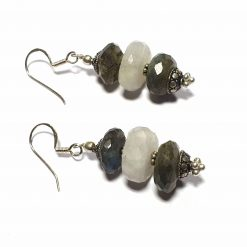 Sterling Silver Gray Labradorite Beaded Indian Earrings Simplistic Earrings Silver Women 925 Pack Of 1 Pair Earring Ideal for Women - Jewelfort