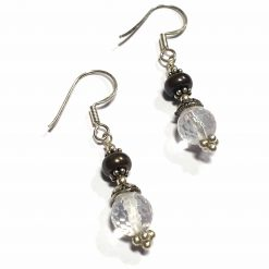 Sterling Silver White Crystal Beaded Indian Earrings Simplistic Earrings Silver Women 925 Pack Of 1 Pair Earring Ideal for Women - Jewelfort