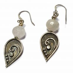 Sterling Silver White Moonstone Beaded Indian Earrings Simplistic Earrings Silver Women 925 Pack Of 1 Pair Earring Ideal for Women - Jewelfort