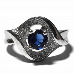 Sterling Silver Blue Zircon Wedding Ring Wedding Rings Silver Women Blue Pack Of 1 Ring Ideal for Women - Jewelfort