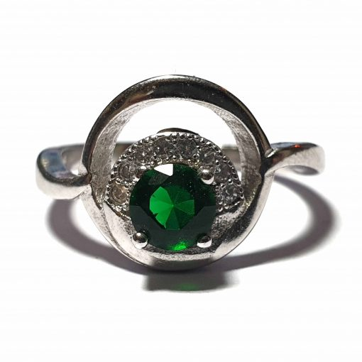 Sterling Silver Green Zircon Wedding Ring Wedding Rings Silver Women Green Pack Of 1 Ring Ideal for Women - Jewelfort