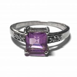 Sterling Silver Purple Amethyst Engagement Ring Wedding Rings Silver Women Purple Pack Of 1 Ring Ideal for Women - Jewelfort