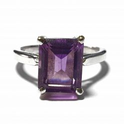Sterling Silver Purple Amethyst Engagement Ring Wedding Rings Silver Women Amethyst Pack Of 1 Ring Ideal for Women - Jewelfort