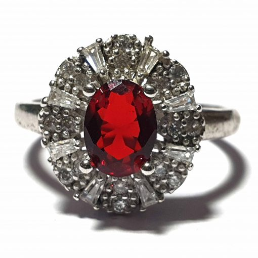 Sterling Silver Red Zircon Wedding Ring Wedding Rings Silver Women Red Pack Of 1 Ring Ideal for Women - Jewelfort