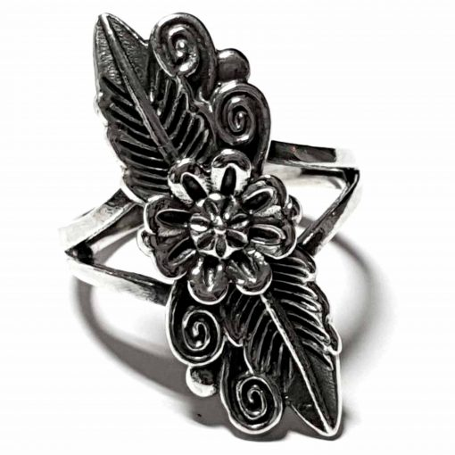 Sterling Silver Silver  Flower Ring Flower Rings Silver Women Flower Pack Of 1 Ring Ideal for Women - Jewelfort