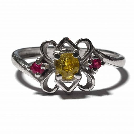 Sterling Silver Yellow Zircon Simplistic Ring Indian Rings Silver Women Yellow Pack Of 1 Ring Ideal for Women - Jewelfort
