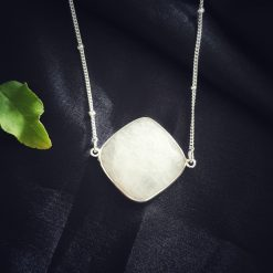 Sterling Silver White Moonstone White Square Moonstone Necklace Everyday White Necklace Necklace Moonstone White Jewellery Pack Of 1 Necklace Ideal for Women