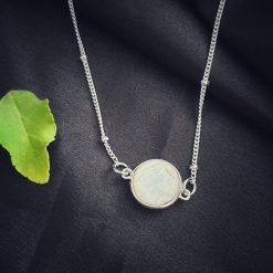 Sterling Silver White Moonstone White Round Moonstone Necklace Everyday White Necklace Necklace Moonstone White Jewellery Pack Of 1 Necklace Ideal for Women