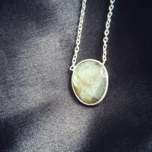 Sterling Silver Grey Labradorite Grey Labradorite Bezel Necklace Everyday Grey Necklace Necklace Labradorite Grey Jewellery Pack Of 1 Necklace Ideal for Women