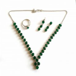 Sterling Silver Green Green Onyx Simplistic Fusion Necklace Everyday Women Necklace Necklace Necklace Earring Ring Set Jewellery Set Pack Of 1 Necklace