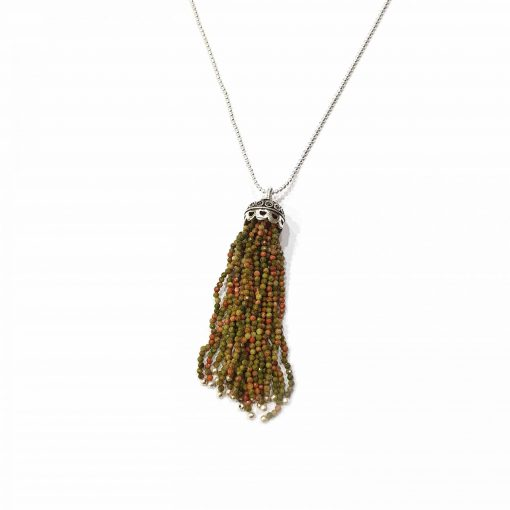 "Sterling Silver Green Unakite 36"" Inch Tussle Necklace with Ball Chain Necklace Everyday Necklaces Girls Necklaces Women Necklaces Womens Jewellery Pack Of 1 Necklace Ideal for Women"