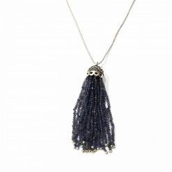 "Sterling Silver Blue Iolite 36"" Inch Tussle Necklace with Ball Chain Necklace Everyday Necklaces Girls Necklaces Women Necklaces Womens Jewellery Pack Of 1 Necklace Ideal for Women"
