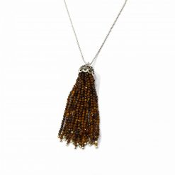 "Sterling Silver Brown Tiger's Eye 36"" Inch Tussle Necklace with Ball Chain Necklace Everyday Necklaces Girls Necklaces Women Necklaces Womens Jewellery Pack Of 1 Necklace Ideal for Women"
