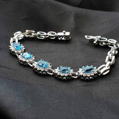 Sterling Silver Blue Topaz Classic Tennis Bracelet Everyday Bracelet Girls Jewellery Womens Bracelet Womens Jewellery Pack Of 1 Bracelet Ideal for Women