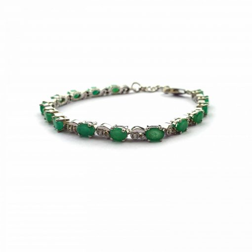 Sterling Silver Green Emerald Classic Unisex Bracelet Everyday Bracelet Mens Jewellery Womens Bracelet Womens Jewellery Pack Of 1 Bracelet Ideal for Men