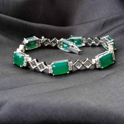 Sterling Silver Green Onyx Classic Tennis Bracelet Everyday Bracelet Girls Jewellery Womens Bracelet Womens Jewellery Pack Of 1 Bracelet Ideal for Women