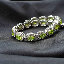 Sterling Silver Green Peridot Classic Tennis Bracelet Everyday Bracelet Girls Jewellery Womens Bracelet Womens Jewellery Pack Of 1 Bracelet Ideal for Women