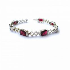 Sterling Silver Red Garnet Classic Tennis Bracelet Everyday Bracelet Girls Jewellery Womens Bracelet Womens Jewellery Pack Of 1 Bracelet Ideal for Women