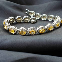 Sterling Silver Yellow Citrine Classic Tennis Bracelet Everyday Bracelet Girls Jewellery Womens Bracelet Womens Jewellery Pack Of 1 Bracelet Ideal for Women
