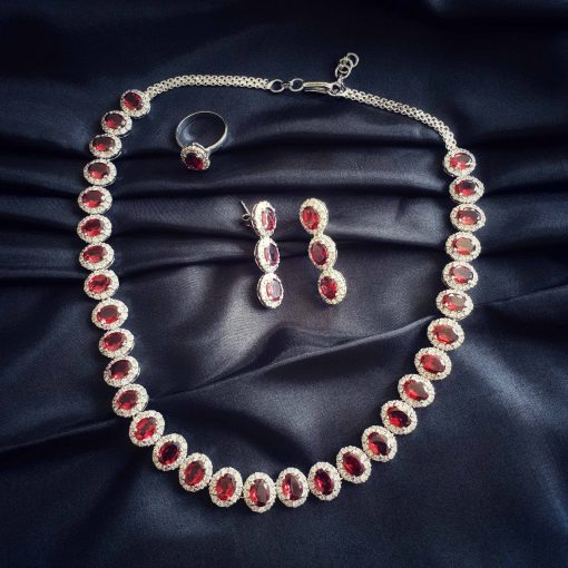 Sterling Silver Red Garnet Classic Queen Necklace Everyday Women Necklace Necklace Necklace Earring Ring Set Jewellery Set Pack Of 1 Necklace